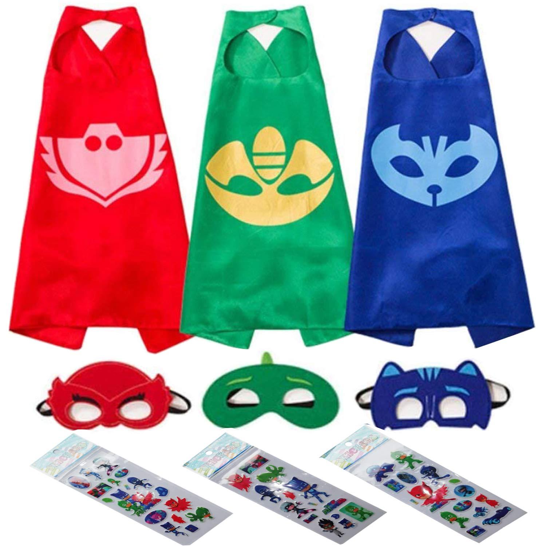 NuGeriAZ Cartoon Hero Dress Up Satin Capes with Felt Mask Catboy Owlette Gekko Costume Sets for Kids PJ Masks Stickers