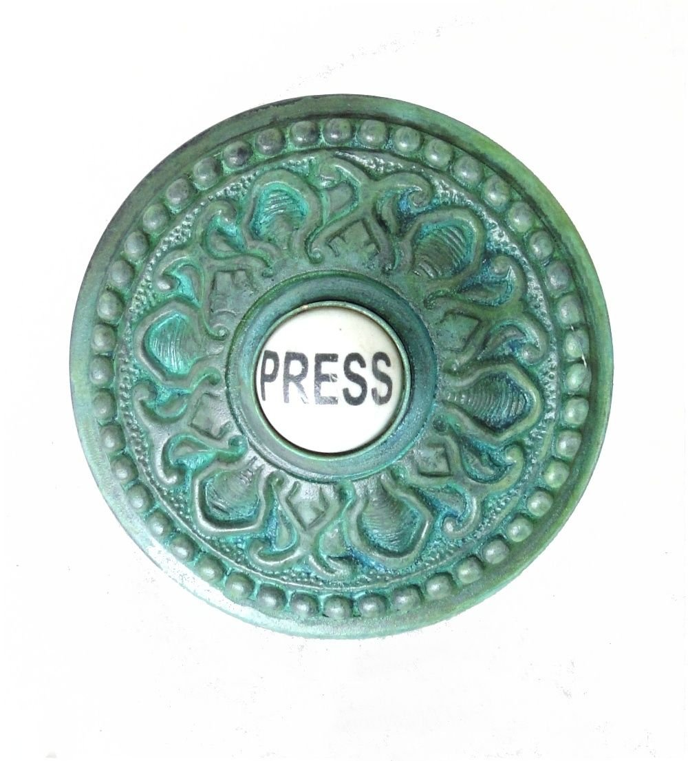 Round PRESS Porcelain Door Bell Button Electric Victorian Solid Brass Old Tiffany Green