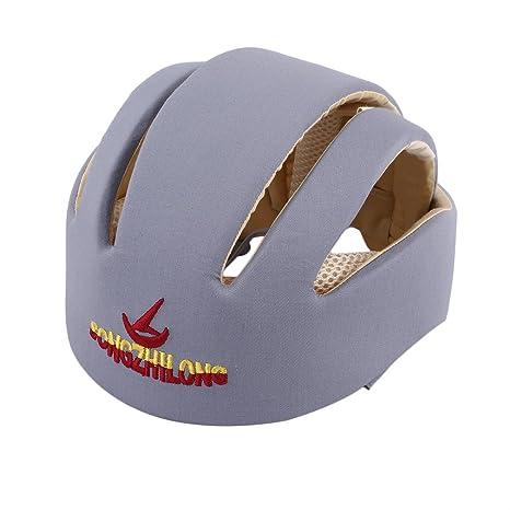Guguogo - Casco de seguridad para bebé, de algodón, protector de sombrero gris