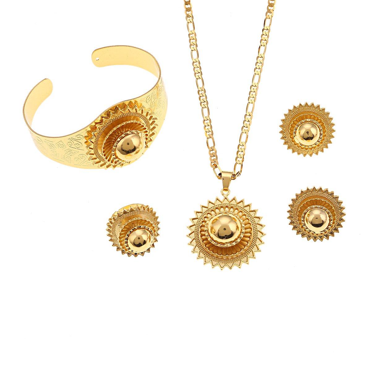 Ethiopian Gold Color Sets Pendant Necklaces Earrings Bangle Ring Habesha Jewelry Eritrean Wedding Gift