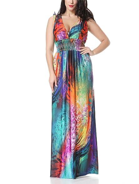 Paule Trevelyan NEW hot sale Longa Praia vestido estilo Bohemian plus size 6XL 7XL coloridas foral