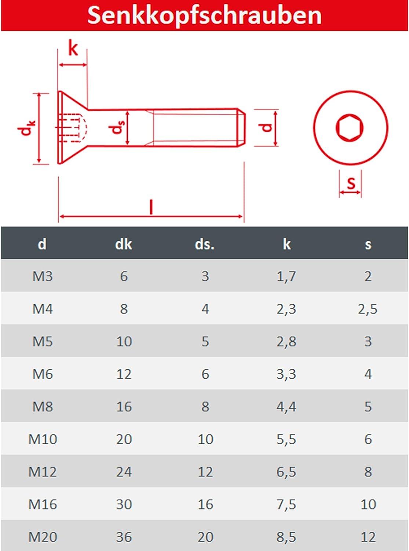 10 St/ück Senkschrauben Vollgewindeschrauben DIN 7991 Senkkopf Schrauben Rostfrei FASTON Senkkopfschrauben mit Innensechskant M6x90 Edelstahl A2 V2A
