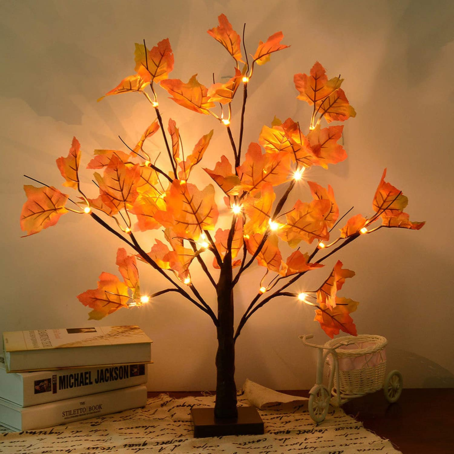 Amazon Com S Union Artificial Fall Lighted Maple Tree 24 Led Thanksgiving Christmas Decorations Table Lights Battery Operated For Christmas Wedding Party Gifts Indoor Outdoor Harvest Home Decor Home Kitchen