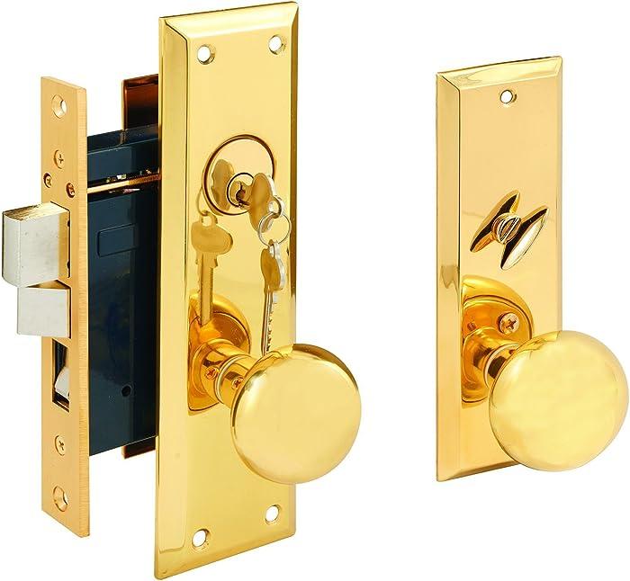 Segal SE 26010 Entrance Mortise Lockset, 2-1/2 in. Backset, Wrought Solid Finish, Polished Brass