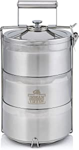 3 Tier Indian-Tiffin Stainless Steel Eco-Box with 3 Piece Cutlery Set