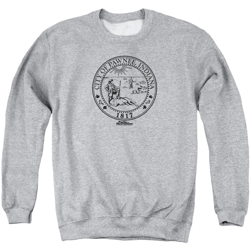 Parks and Recreation Men's Pawnee Seal Sweatshirt Athletic Heather TREVCO