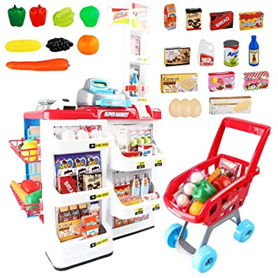 DQQ 32 Piece Cash Supermarket Playset with Working Scanner Register Shopping Cart Play Money Pretend Play Set Toys Accessories for Kids: Toys & Games
