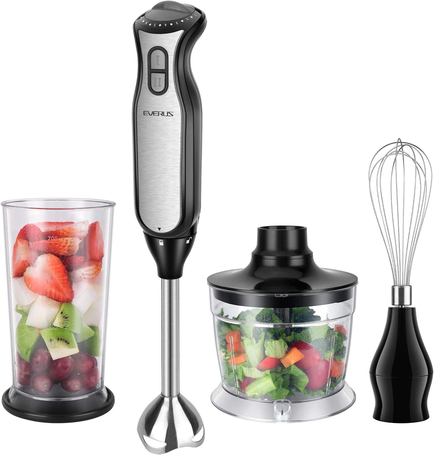 Immersion Hand Blender EVERUS 4-in-1 Hand Blender Stick with 700ml Food Chopper, 700ml Mixing Beaker, Stainless Steel Whisk, 8 Speeds Handheld Immersion Blender for Baby Food, Soup, BPA Free, 400W, Black&Sliver