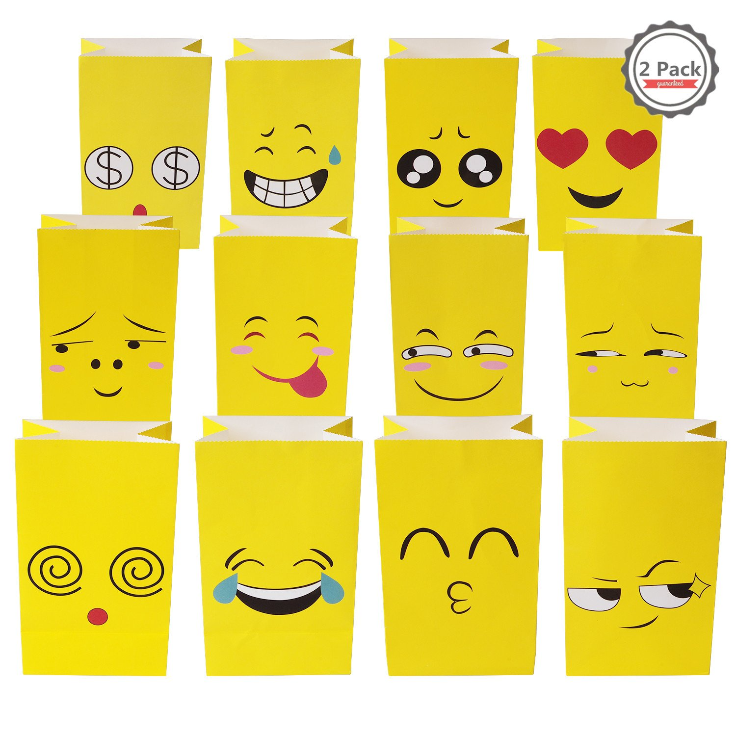 Pack of 24 Emoji Paper Bags Party Treat Bags for Kids,Birthday Celebration Parties, Fun Classroom Treats & Rewards, Carnivals, Games, Candy Goodie Grab Bag, Deluxe Emoticon Gift Supplies (24 Pack)