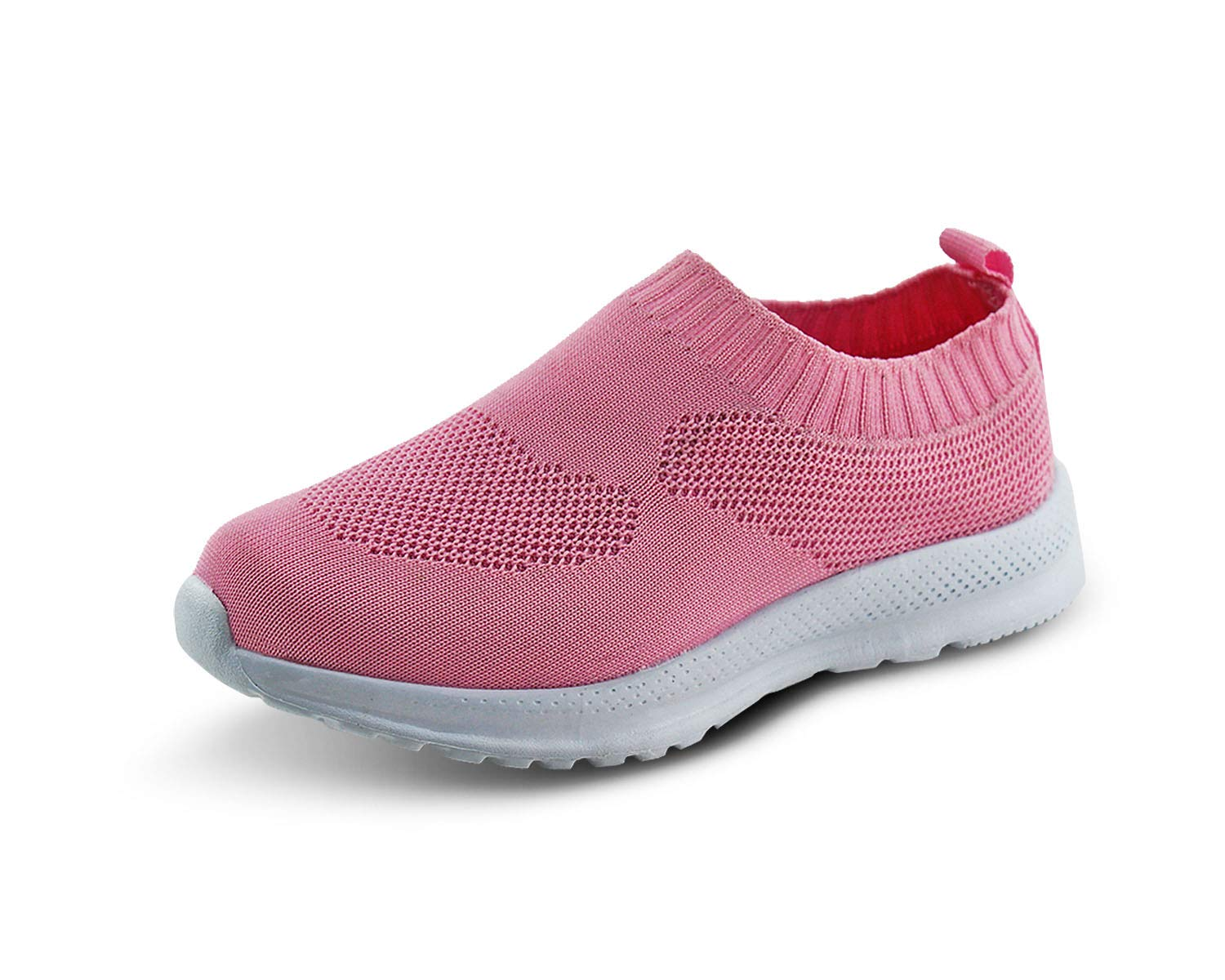 Jabasic Kids Lightweight Knit Shoes Boys Girls Slip On Walking Sneakers(3.5,Pink)
