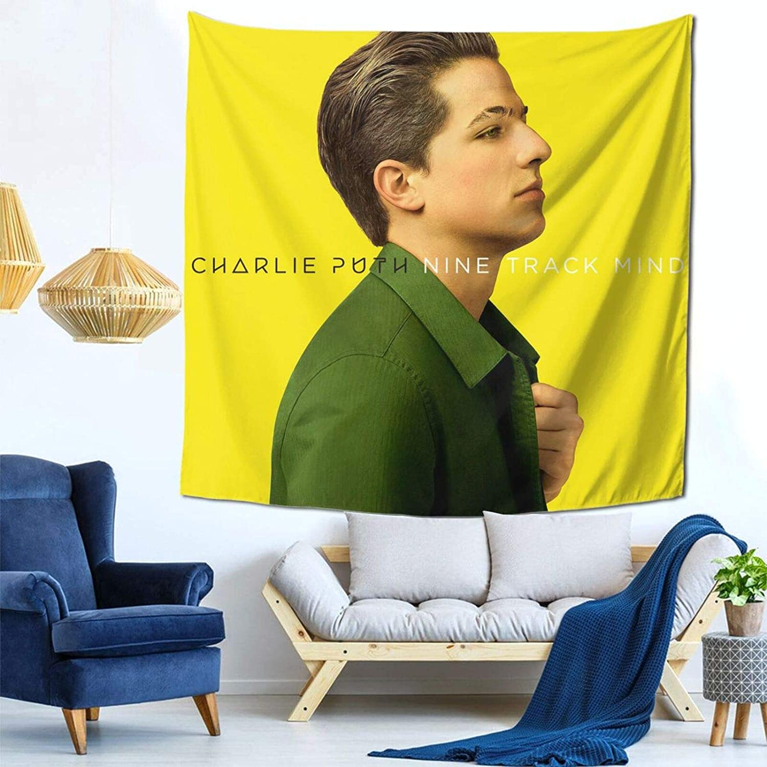 Charlie Puth Nine Track Mind Tapestry Mural Wall Hanging Decor for Bedroom Living Room Dormitory Apartment Tapestry 59 X 59 Inch