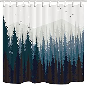 JAWO ZIXCOS Rustic Scenery Shower Curtain, Black Forest Fog Bird Mountain, Polyester Fabric Waterproof Shower Curtain Bathroom, 69X70in, Shower Curtains Hooks Included …