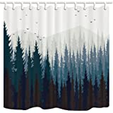 ZIXCOS Rustic Scenery Shower Curtain, Black Forest Fog Bird Mountain, Polyester Fabric Waterproof Shower Curtain Bathroom, 69X70in, Shower Curtains Hooks Included …