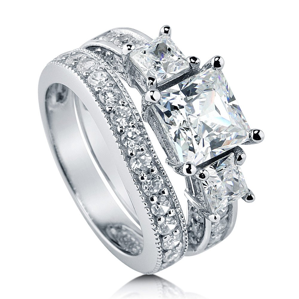 BERRICLE Rhodium Plated Sterling Silver Cubic Zirconia CZ 3-Stone Engagement Ring Set Size 9.5
