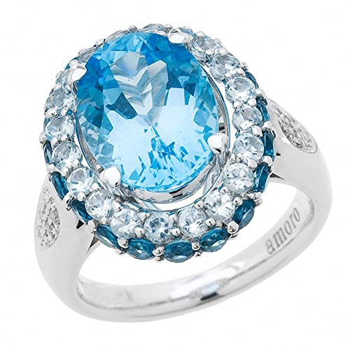 Amoro 14kt White Gold Blue Topaz and Diamond Ring (0.06 cttw, H-I Color, I1-I2 Clarity)
