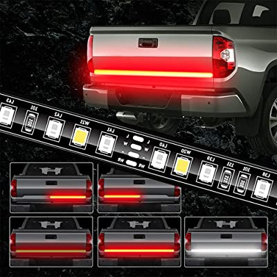 JUNEVEN Tailgate Light Bar 60 Inch Truck Brake Flexible Strip Trailer Tail Lights Turn Signal Reverse Back Up Stop Running Light for Pickup RV SUV Van Car Jeep, Red/White, No Drill Needed: Automotive