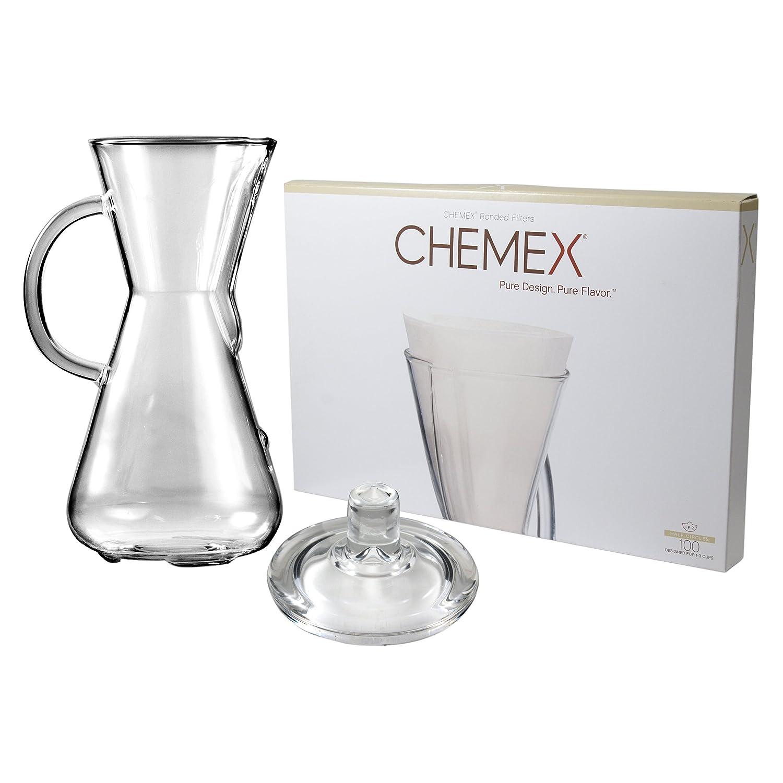 Chemex Cafetera de cristal 15 oz con tapa y 100 Count Bonded ...