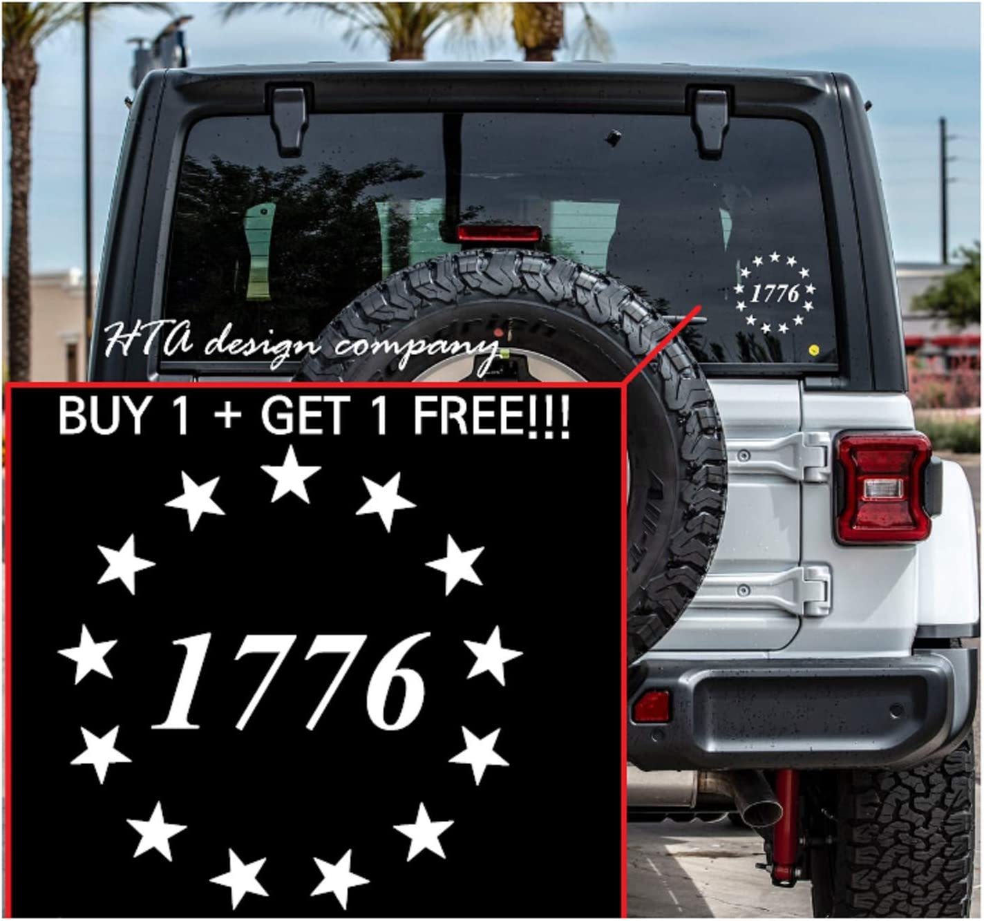 HTA Custom Decal Besty Ross 1776 Stars Die Cut Vinyl Sticker Decal for Car, Truck, Jeep, Window, Motorcycle, Bumper Decal for Laptop, Phone, Home Decoration / 4 in x 4 in/White
