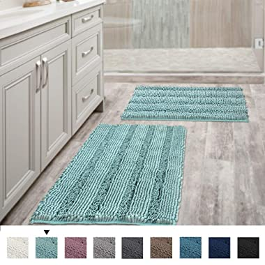 Non Slip Thick Shaggy Chenille Bathroom Rugs, Bath Mats for Bathroom Extra Soft and Absorbent - Striped Bath Rugs Set for Indoor/Kitchen (Set of 2-20  x 32 /17  x 24 ) Eggshell Blue