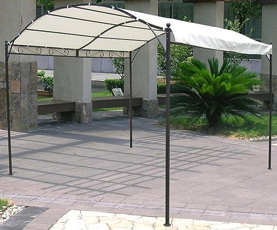 Carpa con toldo impermeable de metal negro, 3 x 2, 5 m, tela blanca: Amazon.es: Jardín