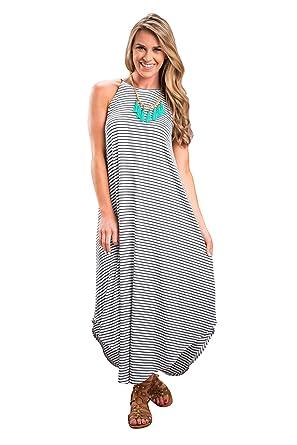 556d92174f JYUAN Women's Casual Summer Boho Sleeveless Striped Beach Long Maxi Dress  (S, Striped)