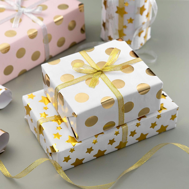 Papel de Regalo,WolinTek 5 Hojas Papel Para Envolver Regalos Baby Shower D/ía De Fiesta 2 Rollo de Cinta para Cumplea/ños Navidad 5 Dise/ño,70 x 50cm Ni/ños Ni/ñas Cumplea/ños Papel Regalo