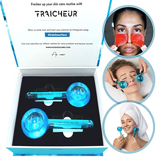 FRAICHEUR Facial Ice Globes, Face Roller Massage, Cooling Frozen Bulb, Cryo Massager Balls, 1 Pair in a Luxuriuos Packaging, BLUE