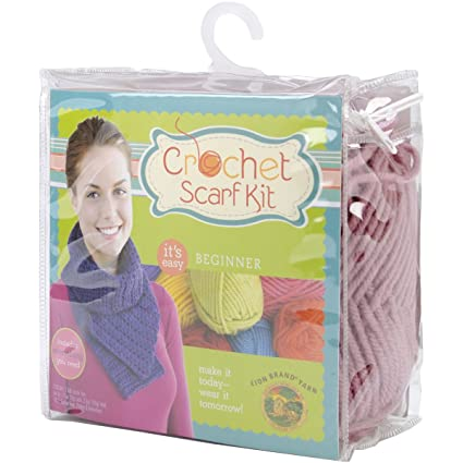 Amazon Lion Brand Yarn 600 885 Beginner Crochet Scarf Kit
