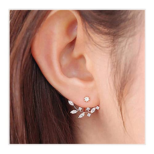 fb11178b1 Image Unavailable. Image not available for. Colour: Elensan gold plated Leaf  Earrings Zirconia ...