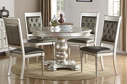 amazon com pac furniture new metallic silver finish wood round