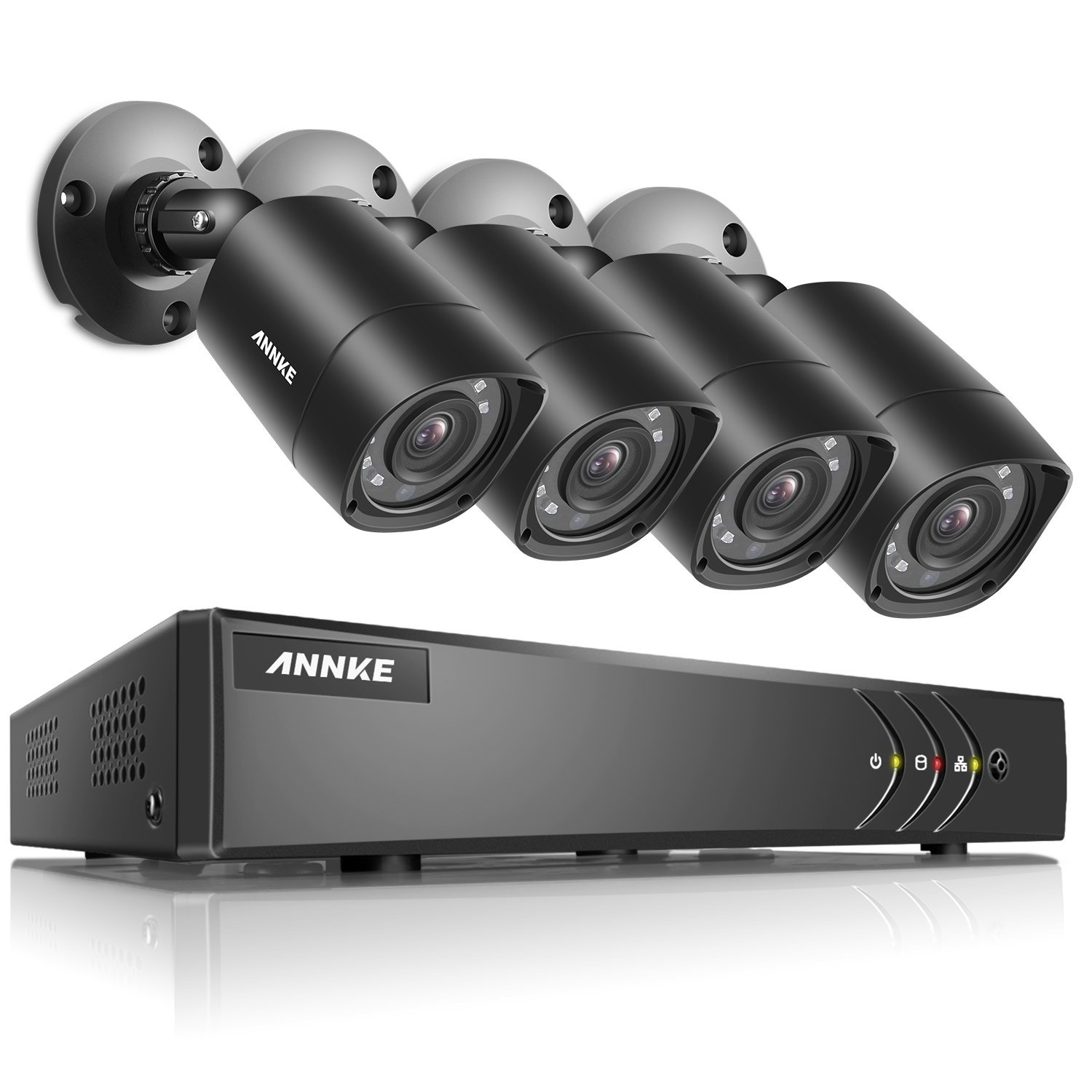 ANNKE 8+2 Channel Security Camera System 1080P Lite H.264+ DVR and (4) 1.0MP 720P Weatherproof Cameras, Email Alert with Snapshots, Enable H.264+ to Record longer, Save money (NO HDD Included)