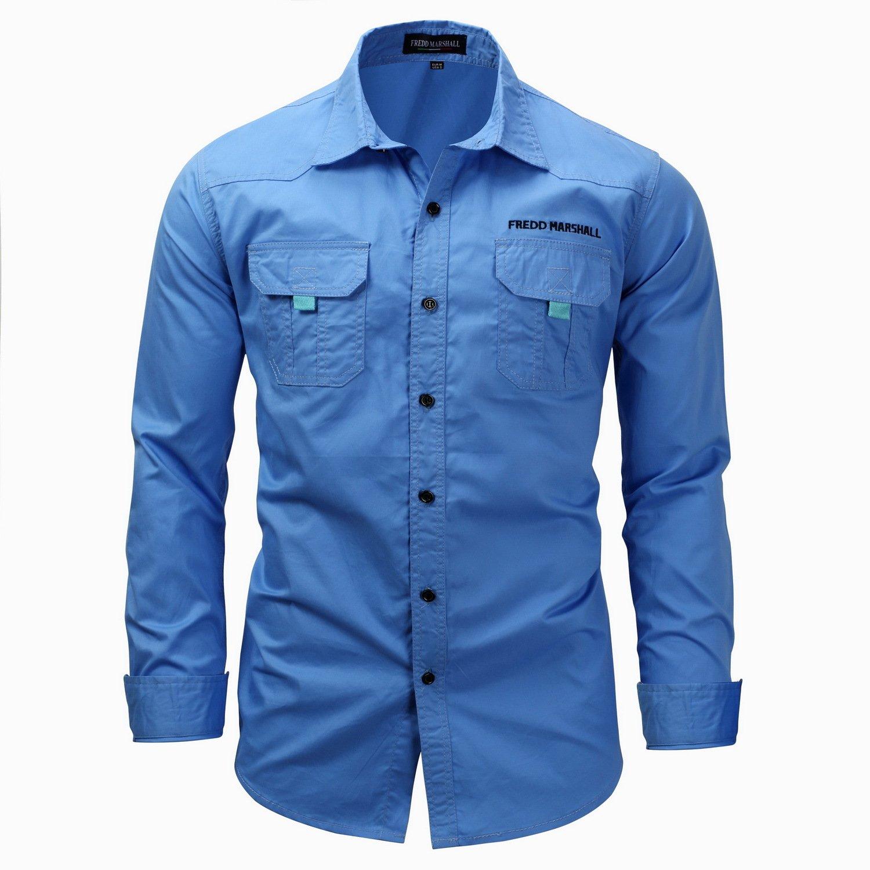 IYFBXl Mens Long Sleeve Lapel Shirt Cotton Casual Pocket Shirt FM116B