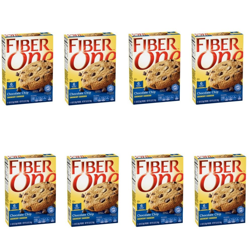 Fiber One Snacks Chocolate Chip Crunchy Cookies Pouches, 5.52 Ounce (8 PACK)