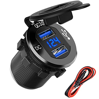 Quick Charge 3.0 Dual USB Charger Socket, SunnyTrip Waterproof Aluminum Power Outlet Fast Charge with LED Voltmeter & Wire Fuse DIY Kit for 12V/24V Car Boat Marine Motorcycle Truck Golf Cart and More