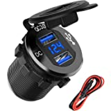 Quick Charge 3.0 Dual USB Charger Socket, SunnyTrip Waterproof Aluminum Power Outlet Fast Charge with LED Voltmeter…