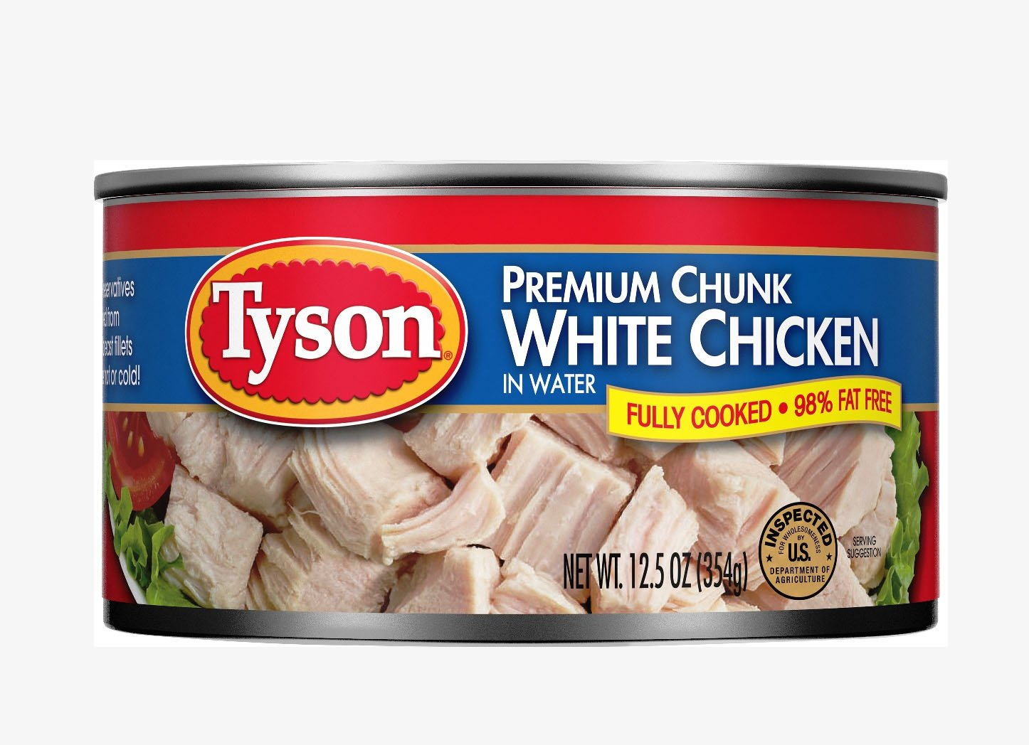 Tyson Foods Premium Chunk White Chicken 98% Fat Free, 12.5oz Can (Pack of 6)