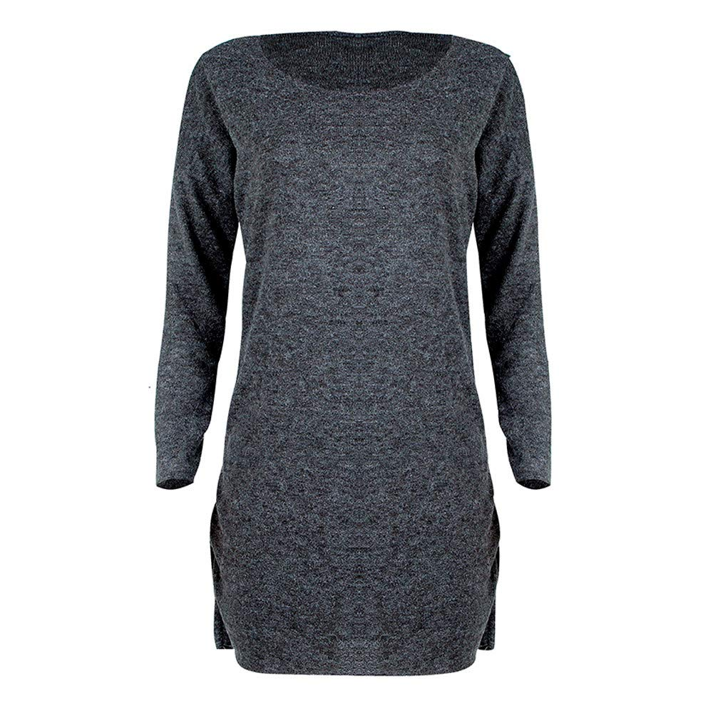 Hehem Dress Women Solid O Neck Sweater Long Shirt Casual Sleeve Torch Tunik Blue Black Navy Xl Pullove