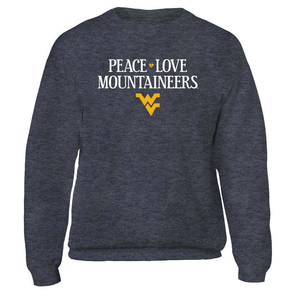 Peace Love Mountaineers - Officially Licensed WVU West Virginia Un. - Gildan Fleece Crew - Officially Licensed Fashion Sports Apparel