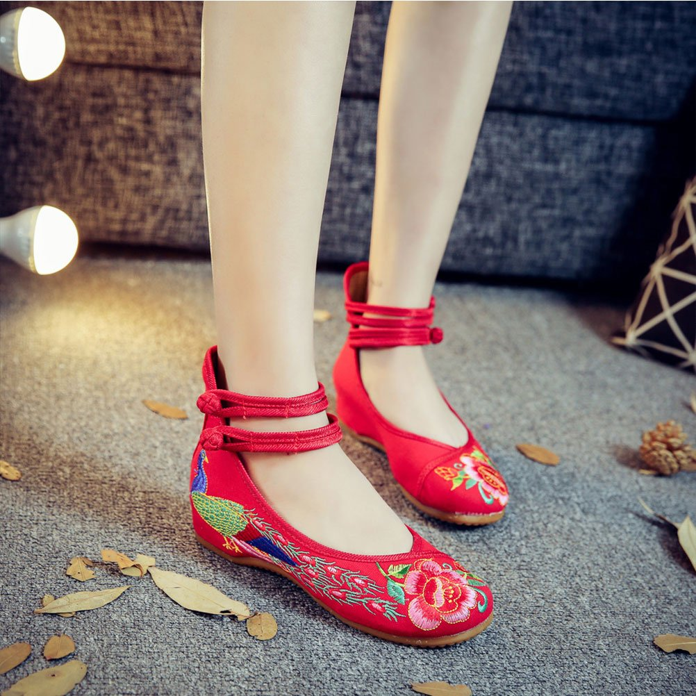 Zhhlinyuan Chinese Style Breathable Casual Shoes Womens Chic Embroidered Shoes