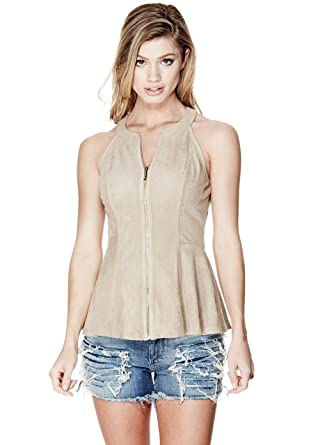 54e18f0fe067a9 Guess Women s Faux-Suede Zip-Front Peplum Top - - Small  Amazon.co ...