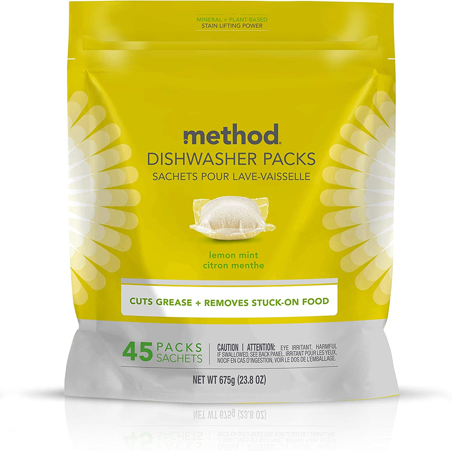 Method Dish Dishwasher Soap Pack, Lemon Mint, 45 Count (Pack of 1) (Packaging May Vary)