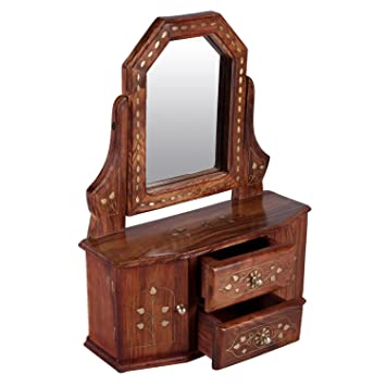 Fara Creations Wooden Handcarved Mini Cabinet with Mirror