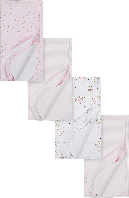 30 x 30 GERBER Baby Girls 4-Pack Flannel Receiving Blanket Princess Crown