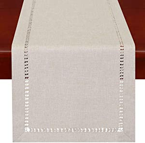 Grelucgo Handmade Hemstitched Polyester Rectangle Table Runners Dresser Scarves, Beige 14x36 inch