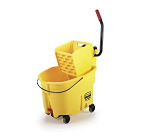 Rubbermaid Commercial 35Qt WaveBrake 2.0 Side-Press Mopping Bucket and Wringer with Foot Pedal Drain, Yellow, (2031764)