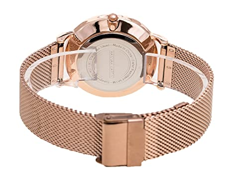 Amazon.com: Womens Rose Gold Watches Fashion Stainless Steel Mesh Band Wrist Watch Simple Analog Quartz Black Dial Watch, with Adjust Tool: Watches