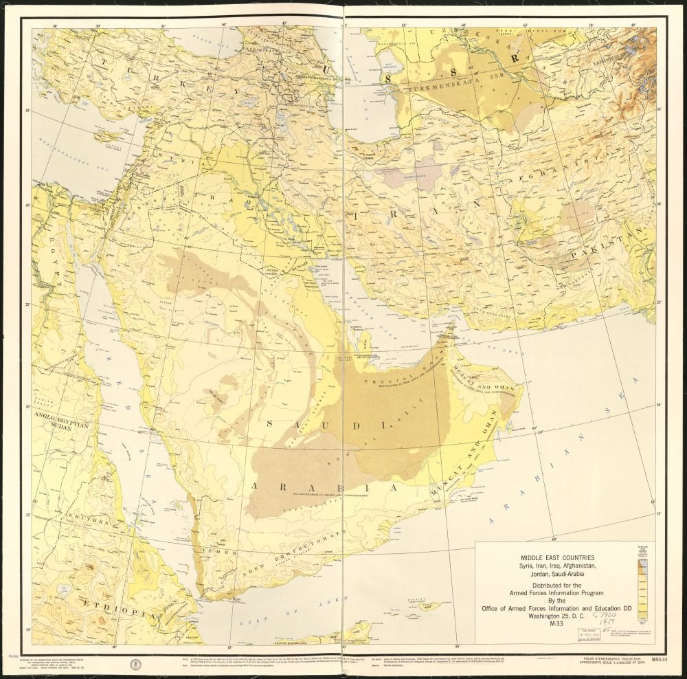 Amazon.com: 1955 map Middle East Countries : Syria, Iran ...