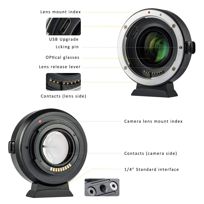 Viltrox EF-FX1 Enfoque autom/ático Objetivos Adaptador Lente convertidor para Canon EF EF-S Lente a Fujifilm X-Mount C/ámara