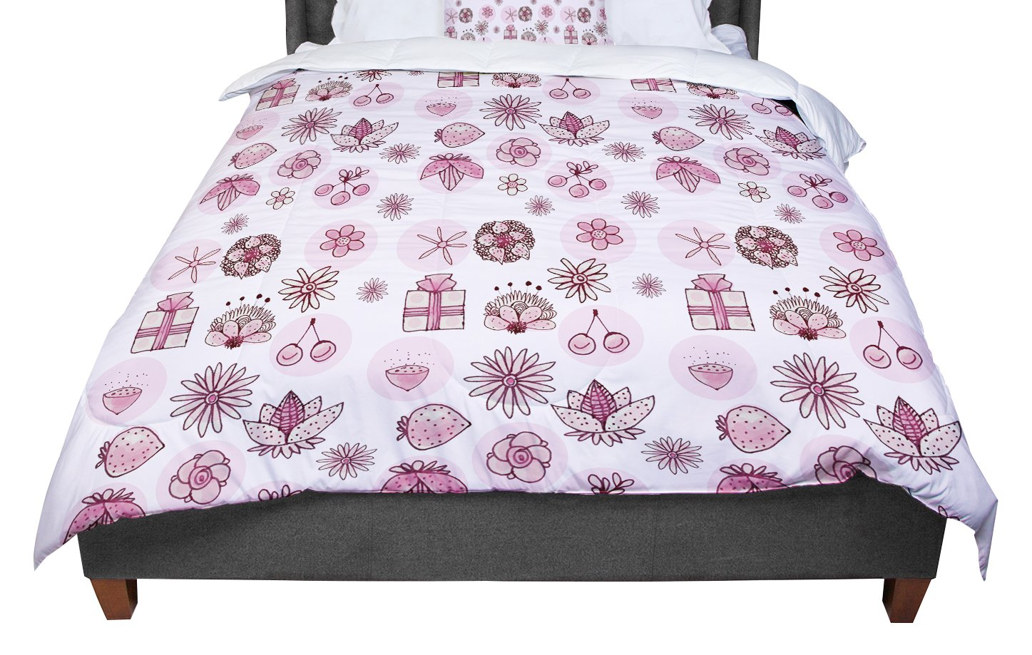 KESS InHouse Marianna Tankelevich 'Cute Stuff' Pink Illustration King / Cal King Comforter, 104' X 88'