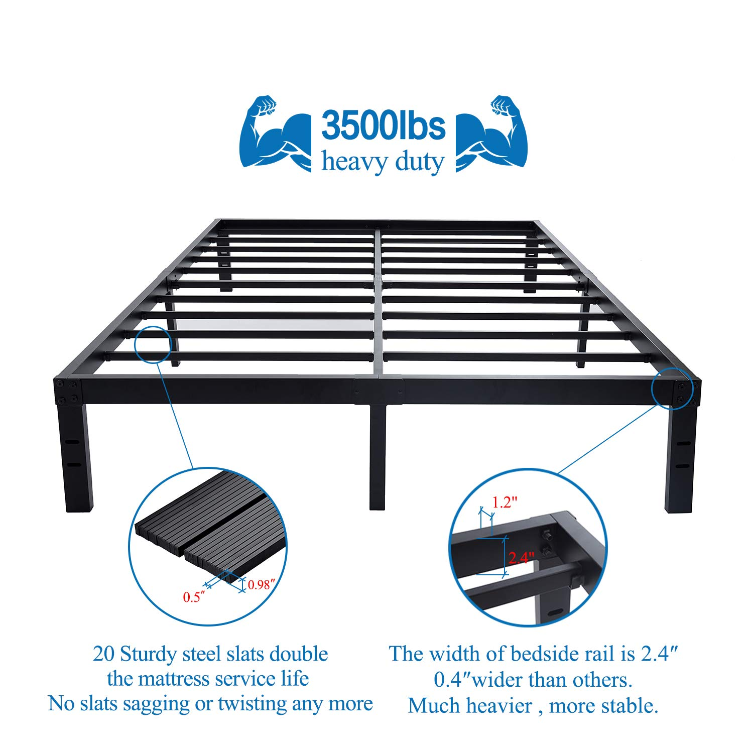 Queen Queen Steel Slat Platform Bed Frame//14 Inch Heavy Duty and Easy Assembly Mattress Foundation//Noise-Free Box Spring Replacement